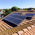 Solar panels on tile roof