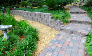 close-up of a retaining wall
