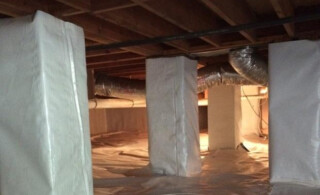 A Crawl Space With Piers