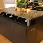 Kitchen island with wine shelf