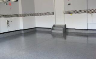 Coated garage floor