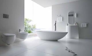 Bathroom with bidet faucet
