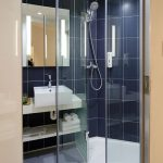 frameless shower in modern bathroom