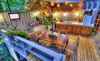 nice patio at a home in the woods