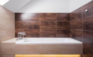 Luxury square bathtub in modern bathroom