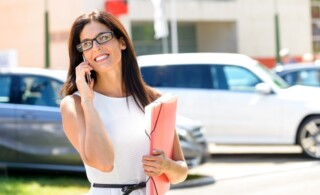 Woman on phone outdoors