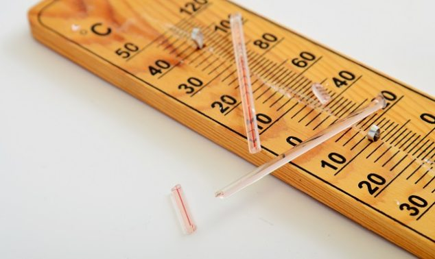 Broken mercury style thermometer