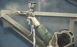 powder coating in a studio