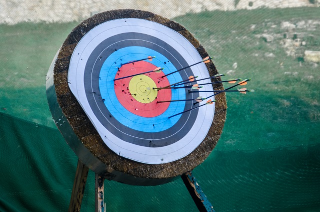 Close-Up Of Arrows On Target