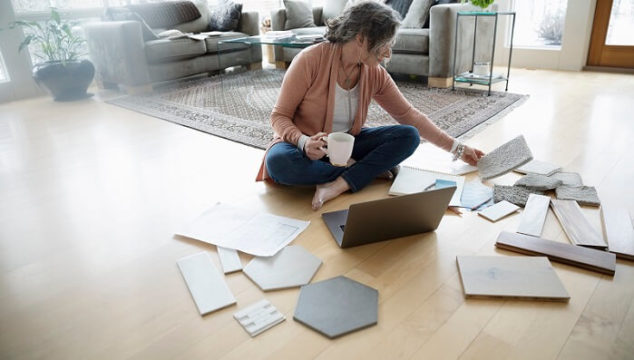 woman choosing the best flooring for her house
