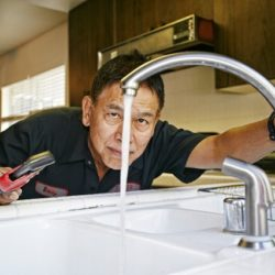 Plumber fixing a kitchen sink