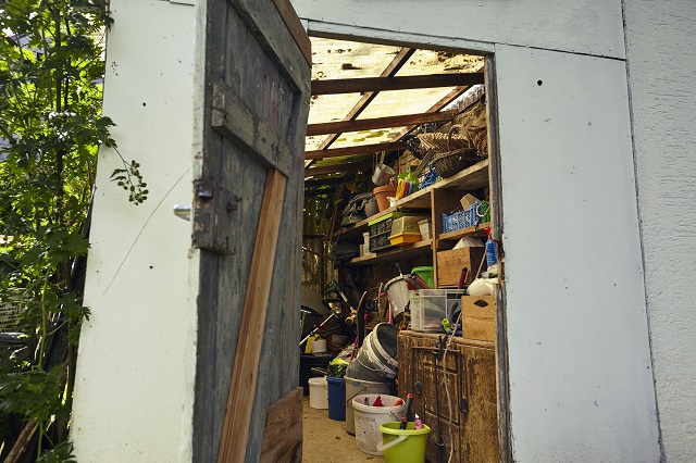 Interior of a garden shed with a crammed collection of eclectic diy and gardening equipment viewed through the open shed door.