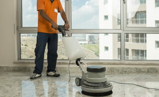 professional buffers a marble floor