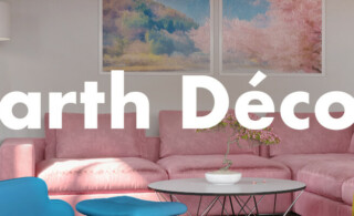 "Living room rendering with over layed text reading ""Earth Decor"""