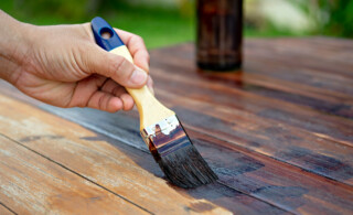 staining wood with paint brush