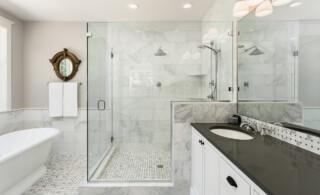 modern bright bathroom with glass shower