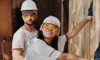 couple working on home improvement projects